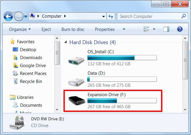 connect external hard drive