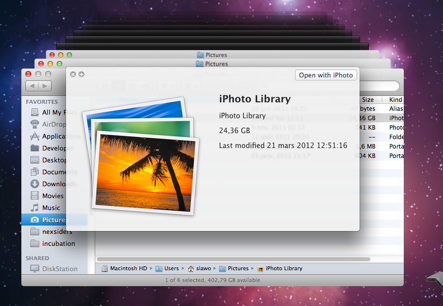 how to recover iphoto library from Time Machine