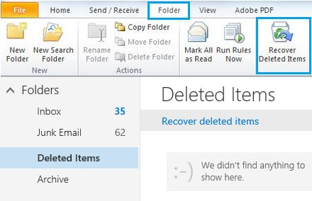 recover deleted email in outlook step 1