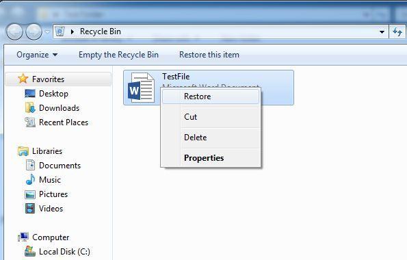 Restaurar arquivos eliminados