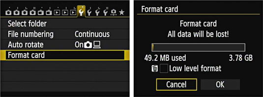 format SD card on digital camera