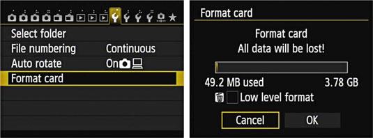 format sd card on digital camera