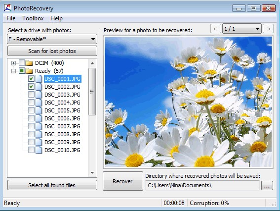 PixRecovery photo repair steps