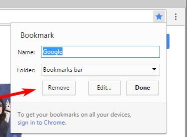 remove bookmarks from Chrome