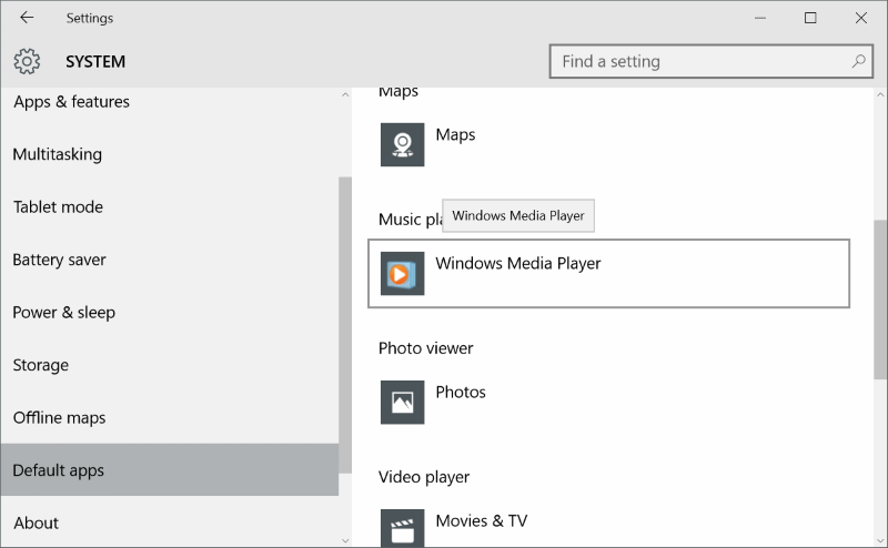 Settings default apps windows media player