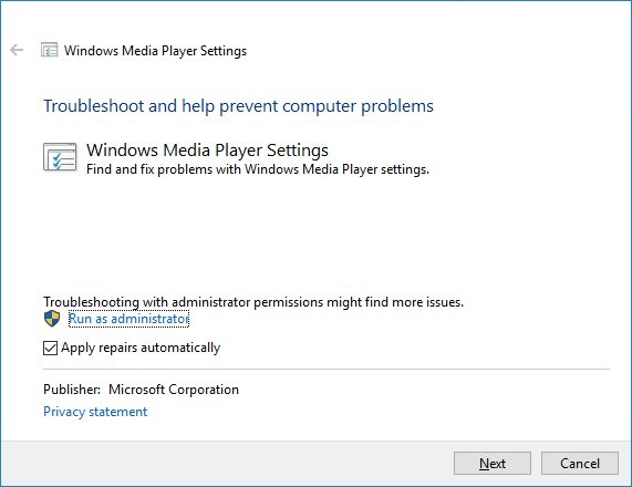 Windows media player settings