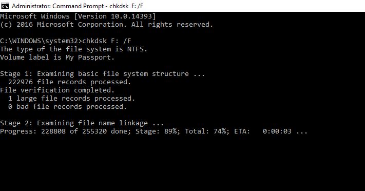 fix a corrupted external hard drive with CMD
