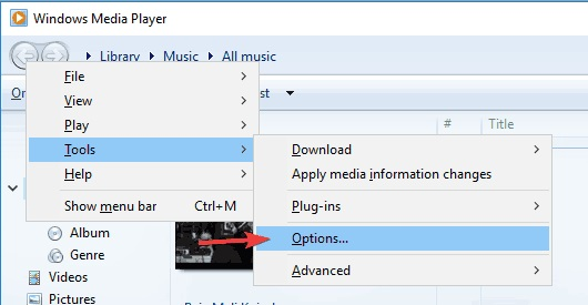 options windows media player
