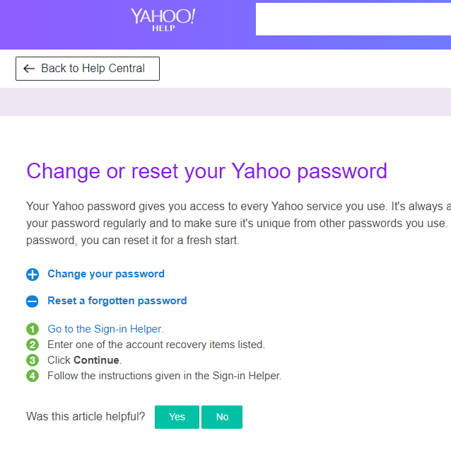 yahoo cant remember password