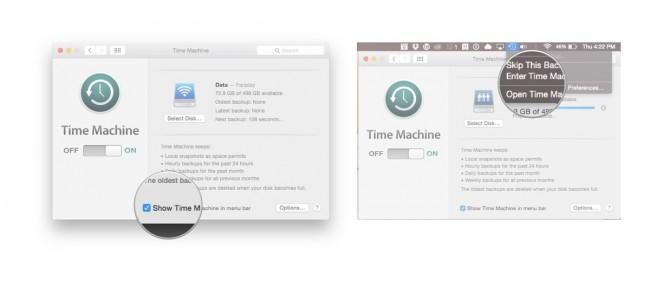 afficher Time Machine dans la barre de menus