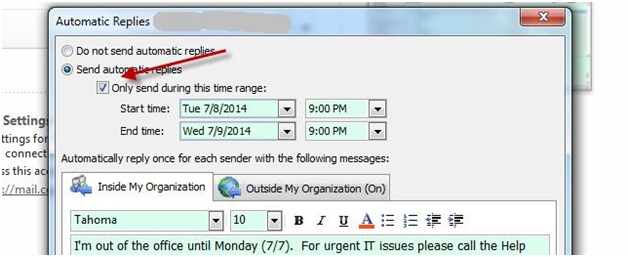 comment configurer outlook hors site dans Outlook 2014