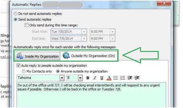 étapes pour configurer outlook hors site dans Outlook 2014