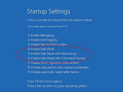 Arriver à entrer en mode sans échec dans Windows 10 étape 6
