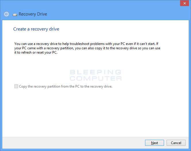 Créer un lecteur USB de récupération du système étape 1