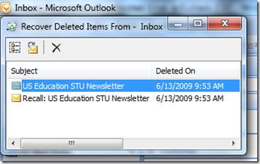 restaurar email eliminado desde Outlook 2007 paso 2