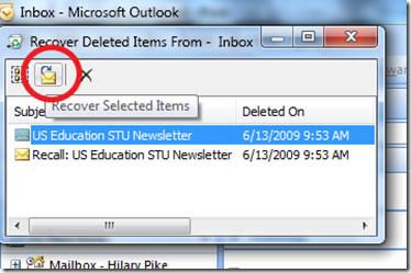 restaurar email eliminado desde Outlook 2007 paso 3