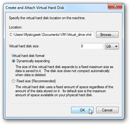 créer un disque dur virtuel étape 2