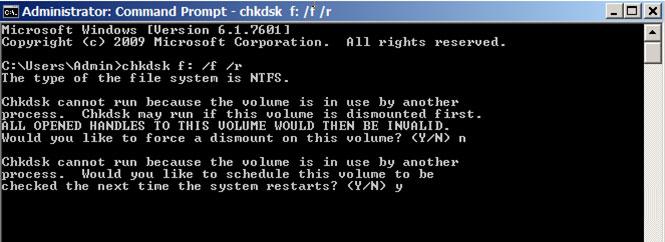 résoudre les problèmes du disque dur avec l'invite de commande - étape 2