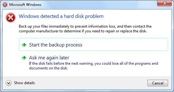 windows a détecté un problème de disque dur