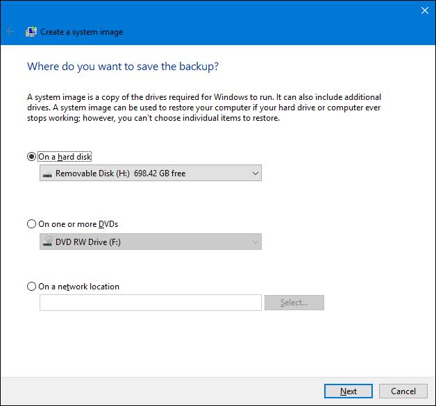 Sauvegarde d'image système dans Windows