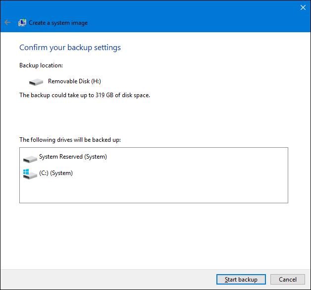 créer une sauvegarde d'image système dans Windows