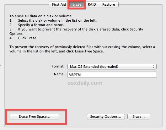 erase free space hard drive