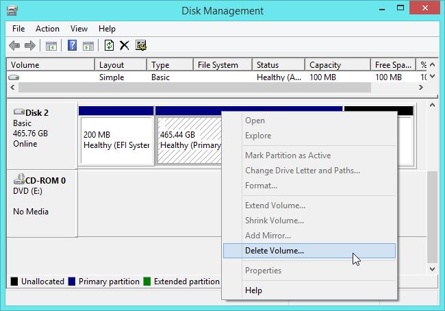 delete a partition in Windows 7