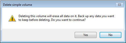 delete partition in Windows 7