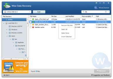 Software gratuito para recuperación de tarjetas de memoria: Wise data recovery