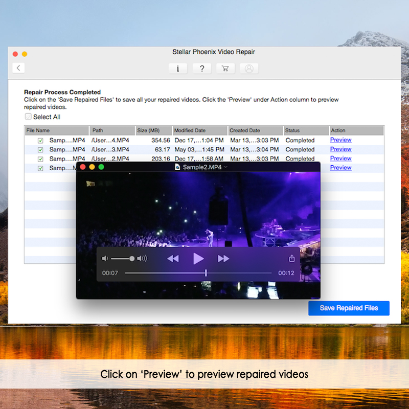 preview repaired video files on mac