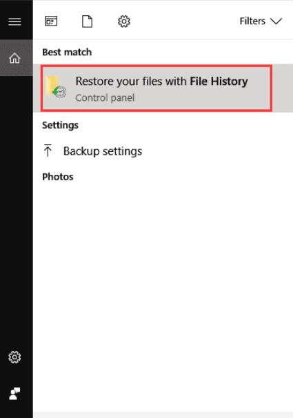 recover permanently pictures from File History