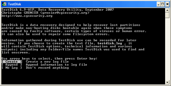 testdisk data recovery program