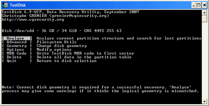 TestDisk free recovery software