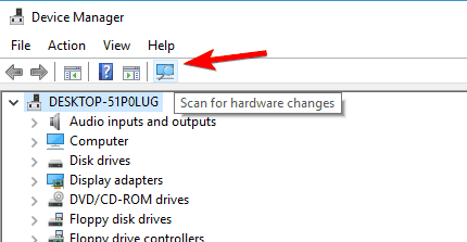 scan for available hardware changes