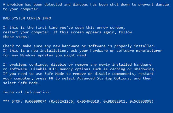 bsod before safe mode
