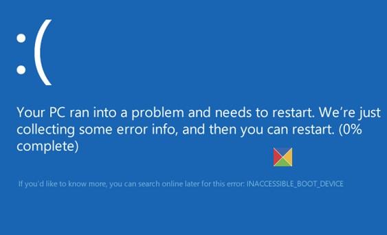 windows 10 inaccessible boot device error