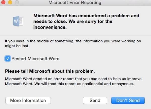 Word keeps crashing on Mac