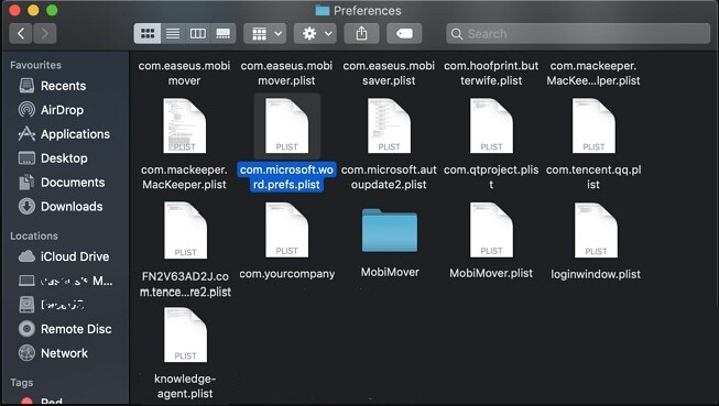 move the Word plist file to desktop