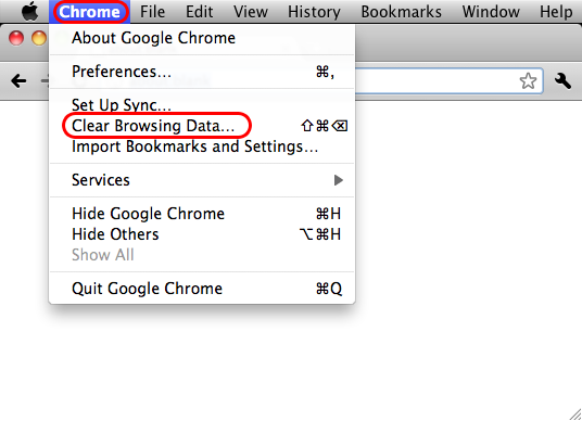 chrome tab showing clear browsing data