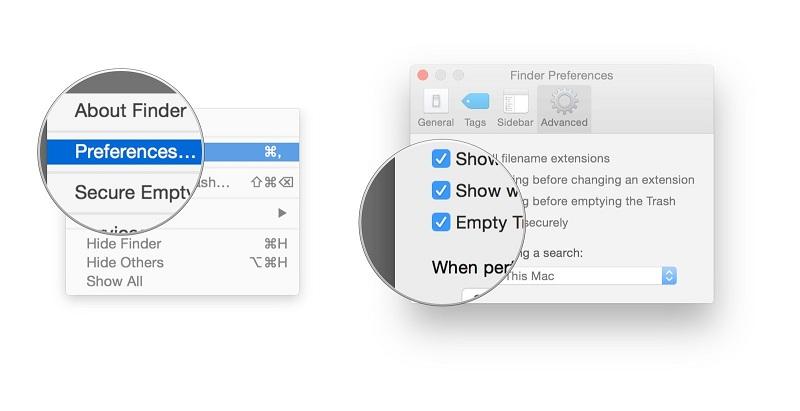 finder menu showing preferences