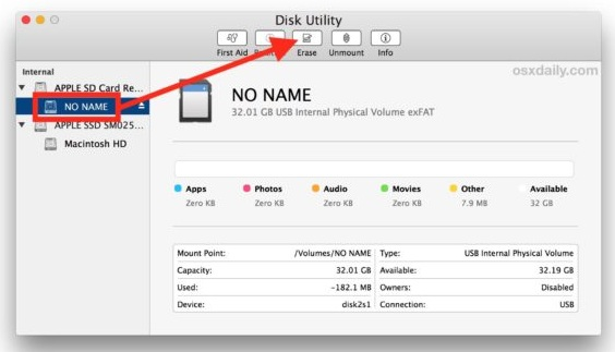 disk utility showing inserted SD card