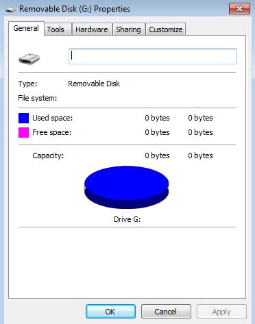 hard drive shows 0 bytes