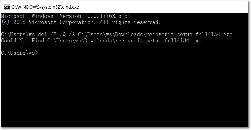 remove files using CMD