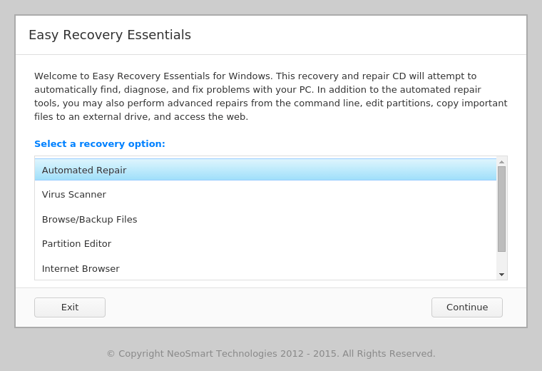 easy recovery essentials for windows