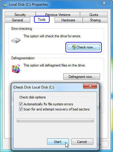 Using the check disk option