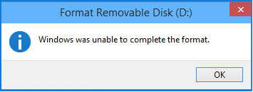 can't format usb flash drive error