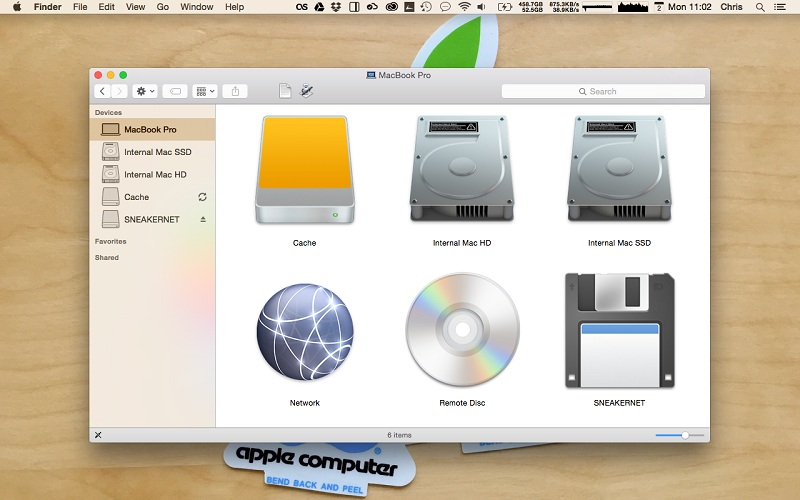 image showing the floppy disk in macbook pro