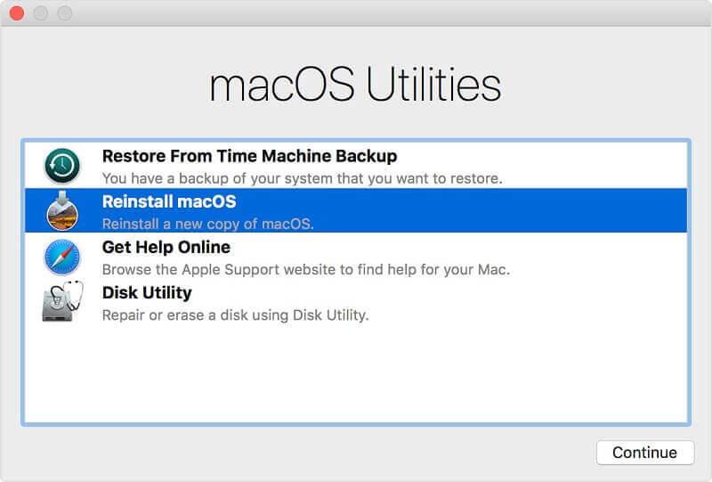 reinstall macOS highlighted