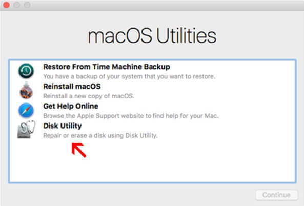 arrow pointing disk utility
