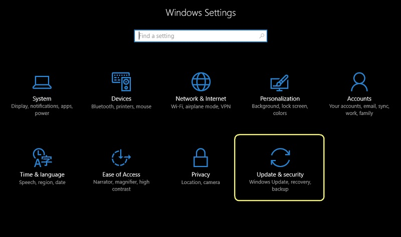 update and security option highlighted